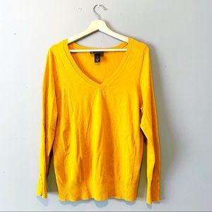 Lane Bryant | Sweater V-Neck Button Cuff Mustard